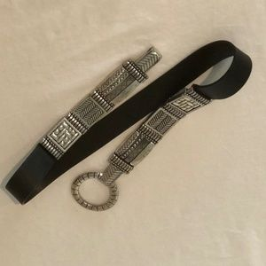 Chicos Womens Belt Size Large Black Silver Leather